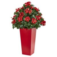 Nearly Natural 3-Foot Hibiscus in Red Tower Planter