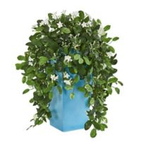 Nearly Natural 28-Inch Stephanotis in Blue Tower Planter