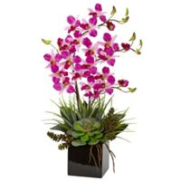 Nearly Natural 26-Inch Orchid and Succulent Arrangement in Black Vase