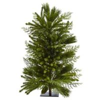 Nearly Natural 26-Inch Mixed Pine Tree on Flat Stand
