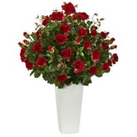 Nearly Natural 3-Foot Red Rose Bush in White Tower Planter