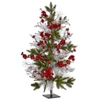 Nearly Natural 26-Inch Plum Blossom, Pine and Icicle Tree on Flat Stand