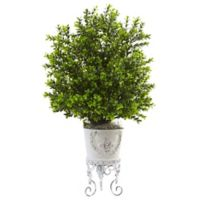 Nearly Natural 28-Inch Boxwood Bush in White Metal Planter Stand