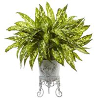 Nearly Natural 24-Inch Aglaonema in White Metal Planter Stand
