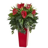 Nearly Natural 34-Inch Mixed Anthurium in Red Planter