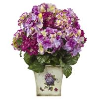 Nearly Natural 19-Inch Mixed Hydrangea in Vintage Floral Planter