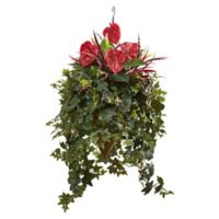 Nearly Natural 41-Inch Mixed Anthurium Hanging Cone Basket