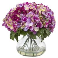 Nearly Natural 14.5-Inch Hydrangea Arrangement in Large Glass Vase