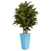 Nearly Natural 4-Foot Croton in Turquoise Tower Planter