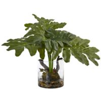 Nearly Natural 14-Inch Philodendron Arrangement in Glass Cylinder