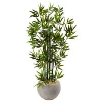 Nearly Natural 4-Foot Green Stem Bamboo Tree in Sand Textured Bowl