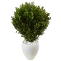Nearly Natural 3-Foot Cedar Tree in White Textured Planter