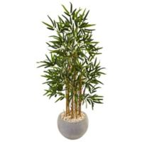 Nearly Natural 4-Foot Brown Stem Bamboo Tree in Sand Textured Bowl