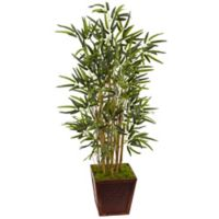 Nearly Natural 4-Foot Bamboo Tree in Basketweave Wood Planter