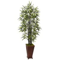 Nearly Natural 5.5-Foot Black Bamboo Tree in Decorative Planter