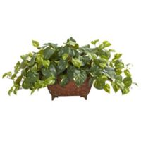 Nearly Natural 15-Inch Pothos Artificial Plant in Metal Planter
