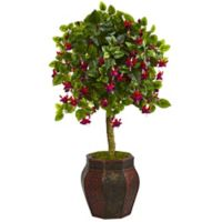 Nearly Natural 44-Inch Fuchsia Tree in Embossed Wood Planter