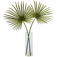 Nearly Natural 49-Inch Fan Palm Arrangement in Cylinder Vase