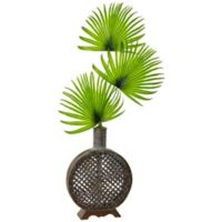 Nearly Natural 41-Inch Fan Palm in Open Weave Vase