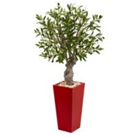 Nearly Natural 40-Inch Artificial Olive Tree in Red Tower