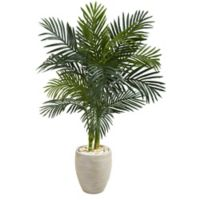 Nearly Natural 4.5-Foot Golden Cane Palm Tree in Sand Textured Oval Planter