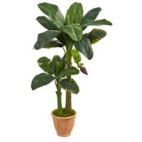 Nearly Natural 5-Foot Artificial Double Stalk Banana Tree in Terracotta