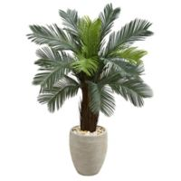 Nearly Natural 4.5-Foot Cycas Tree in Sand Textured Oval Planter