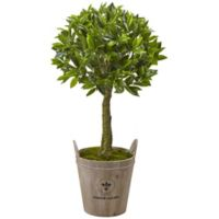 Nearly Natural 38-Inch Sweet Bay Leaf Topiary Tree with Farmhouse Planter