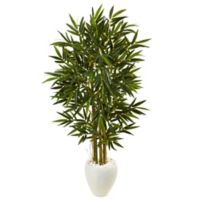 Nearly Natural 5.5-Foot Bamboo Tree in White Oval Planter