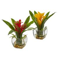 Nearly Natural 8-Inch Bromeliad Vase Arrangement (Set of 2)