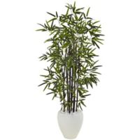 Nearly Natural 5-Foot Bamboo Tree in White Oval Planter