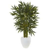 Nearly Natural 4.5-Foot Bamboo Tree in White Oval Planter