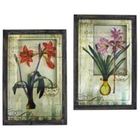 Nearly Natural French Floral 23.75-Inch x 15.75-Inch Framed Glass Wall Art (Set of 2)