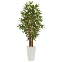 Nearly Natural 5-Foot Bamboo Tree in White Tower Planter