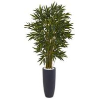 Nearly Natural 6.5-Foot Bamboo Tree in Grey Cylinder Planter