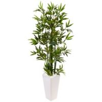 Nearly Natural 4.5-Foot Bamboo Tree in White Tower Planter