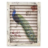 Nearly Natural 17-Inch Peacock Framed Window Shutter Wall Decor