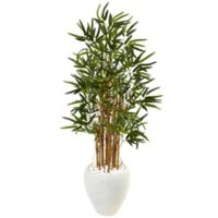 Nearly Natural 4-Foot Bamboo Tree in White Oval Planter