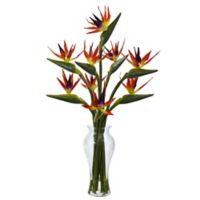 Nearly Natural 19-Inch Birds of Paradise in Glass Vase