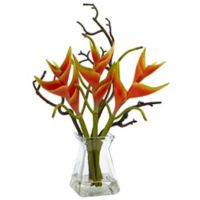 Nearly Natural 17-Inch Heliconia with Glass Vase