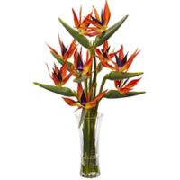 Nearly Natural 32-Inch Birds of Paradise with Glass Vase