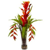 Nearly Natural 30-Inch Bromeliad and Heliconia with Glass Vase