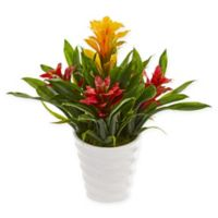 Nearly Natural 17-Inch Bromeliad Plant with White Vase in Yellow/Red