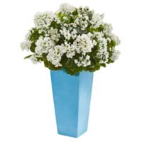 Nearly Natural 30-Inch White Geranium in Turquoise Tower Planter