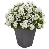 Nearly Natural 33-Inch White Geranium Plant in Slate Planter