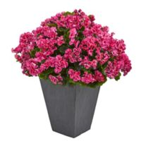 Nearly Natural 33-Inch Burgundy Geranium Plant in Slate Planter