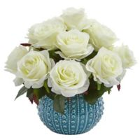 Nearly Natural 11.5-Inch Rose Artificial Arrangement in White