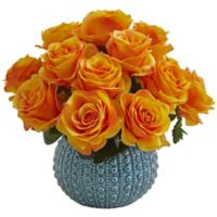 Nearly Natural 11.5-Inch Rose Artificial Arrangement in Orange Yellow