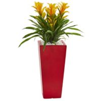 Nearly Natural 26-Inch Triple Bromeliad Plant with Red Tower Vase in Yellow
