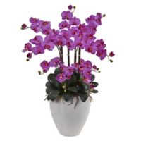 Nearly Natural 34-Inch Phalaenopsis Orchid with White Planter in Purple